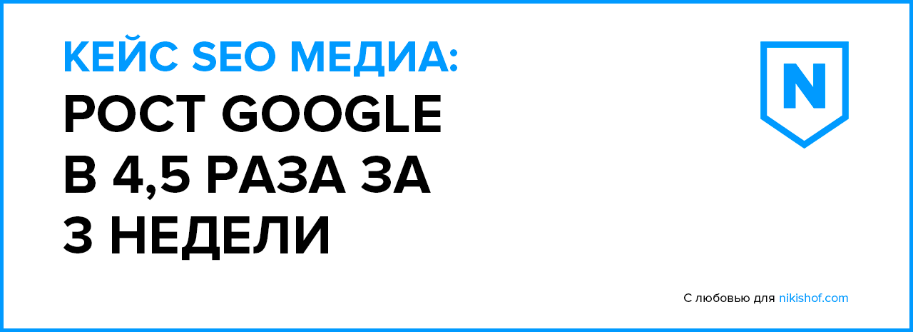 Кейс SEO Медиа: Рост Google в 4,5 раза за 3 недели